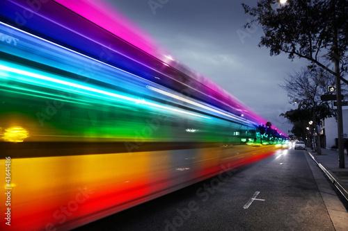 Rainbow traffic blur in night city - 43641486