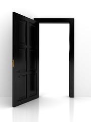 Black door over white background