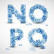 Vector font made from blue letters of the alphabet