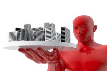 Hombre mirando ciudad en sus manos