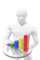 Hombre presentando gráfica de resultados