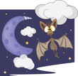 Bat and the moon cartoon