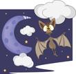 Bat and the moon cartoon
