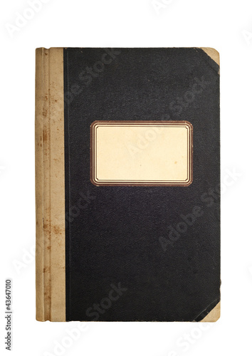 Old, used notebook with blank label isolated over white
