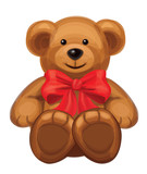 Vector of cute brown bear with red bow.