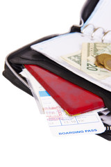 business man leather travel date book with money pasport and boa
