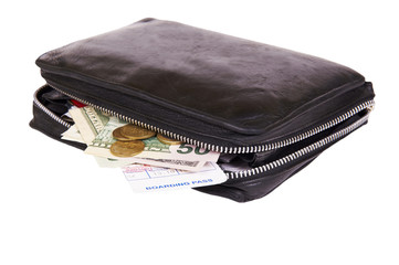 business man leather travel date book with money