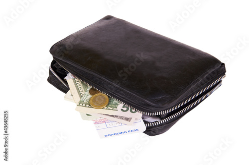business man leather travel date book with money and boarding pa