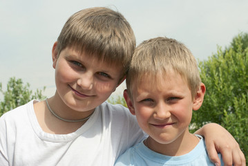 Portrait of two boys (6 and 10 years), brothers