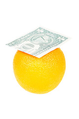 dollar bill on the orange isolated on white background