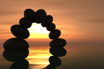 Zen stone arch in sunset