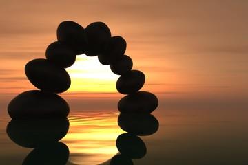 Zen stone arch in sunset
