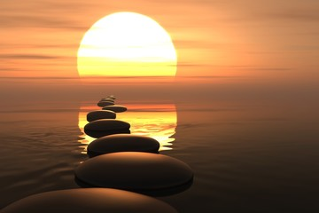 Zen path of stones in sunset