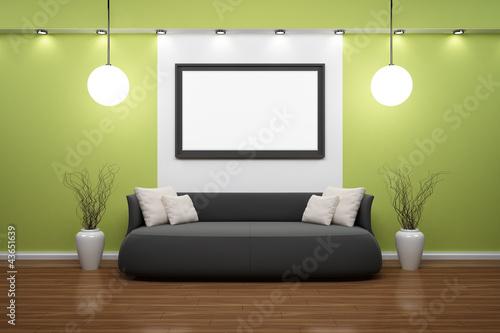 bilderrahmen mit schwarzem sofa und gr ner wand stockfotos und lizenzfreie bilder auf fotolia. Black Bedroom Furniture Sets. Home Design Ideas