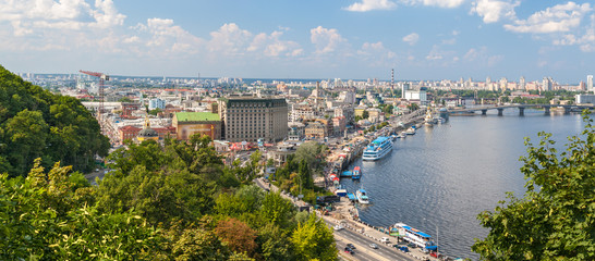 View of Podil from an observation point over the Dnieper. Kiev