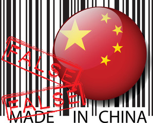 Made in China barcode - FALSE. Vector illustration