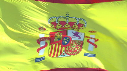 Flag of Spain close up slow motion