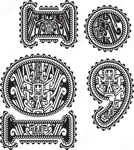 symbols with ancient drawing. Vector illustration