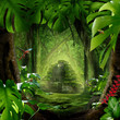Leinwanddruck Bild - Dschungel - Pyramide