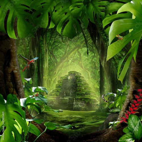 Leinwanddruck Bild Dschungel - Pyramide