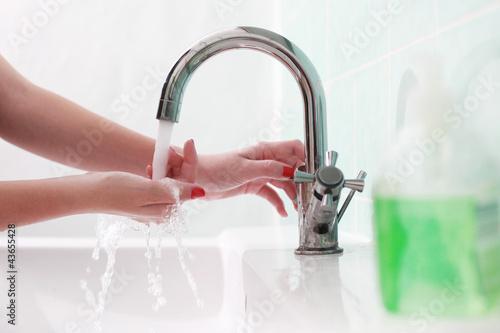 canvas print picture Hände waschen