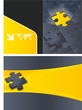 Yellow template for advertising brochure with puzzle pieces