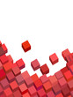 3d pink red abstract cube pattern on white