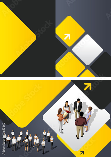 Yellow template for advertising brochure with business people