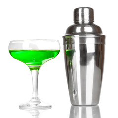 Tasty green cocktail isolated on white