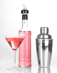 Tasty pink cocktail isolated on white