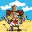 Cartoon cowboy drawing his guns