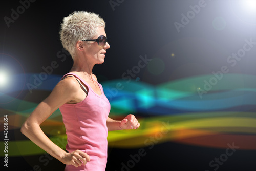 Fit caucasian woman running