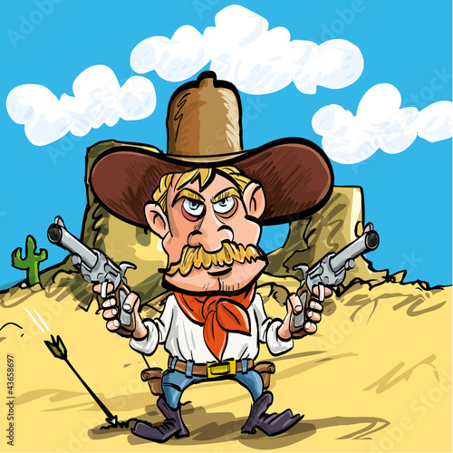 Cartoon cowboy drawing his guns