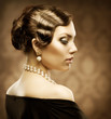 Sepia Toned Retro Style Portrait. Romantic Beauty