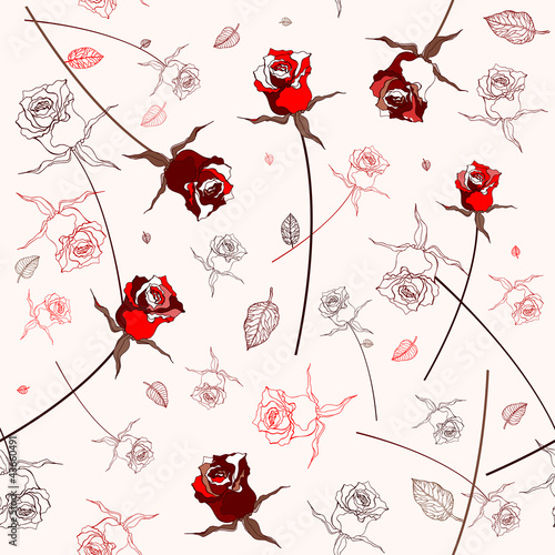 Tuinposter Abstract bloemen Beautiful seamless rose pattern