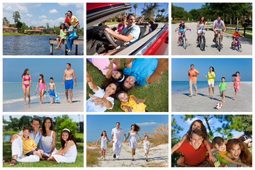Happy Active Family Montage Outside Summer Vacation