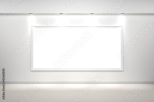 weißer Bilderrahmen beleuchtet