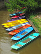 Colorful punts on river in Oxford, United Kingdom.
