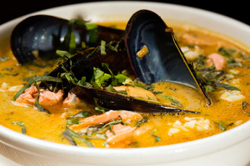 spicy seafood soup with mussels and fish