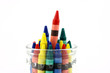 Assorted Colors Of Crayons In A Clear Jar