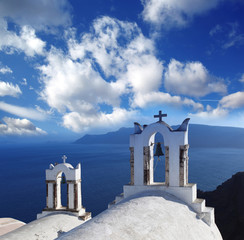 Santorini with Traditional Churches in Oia, Greece
