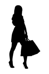 A silhouette of a full length portrait of a female posing with s