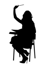 A silhouette of a schoolgirl raising her hand