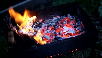 Burning fire  on barbecue, footage
