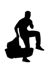 A silhouette of a robber holding a carrycot