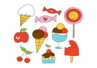 Buntes Grafik-Set: Süßes - Süßigkeiten