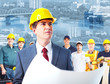 Architect and group of industrial workers.
