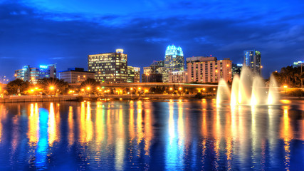 hdr image of orlando skyline with lake lucerne in foreground