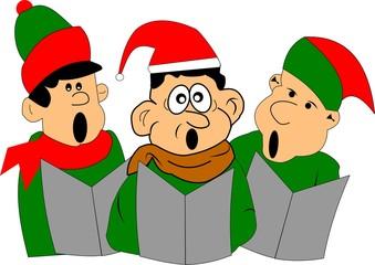 christmas carolers in cartoon style