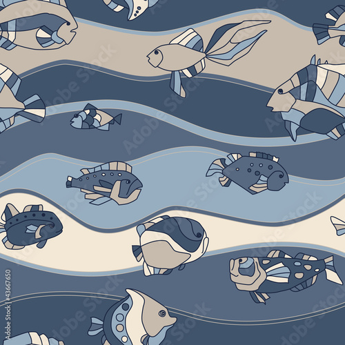 seamless pattern aquarium fish wave